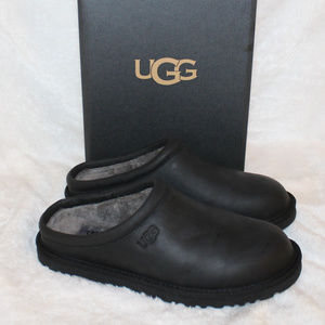 UGG LEATHER CLOG SHEARLING SLIPPERS NEW BLACK
